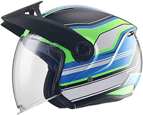 GPFFACAI Casco Integral Moto Mujer Medio Casco Casco de Moto Retro, Medio Casco con Lente incorporada, Flotador de ciclomotor, piloto Chopper, Medio Casco con Visera solar620(Color:B,Size:L)