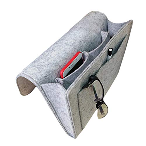 Chris.W Bedside Caddy Storage Organizer, 5-Pocket for Book, Tablet, Phone, Remote, Magzine etc, and Side Hole for Recharging Cable(Gray)