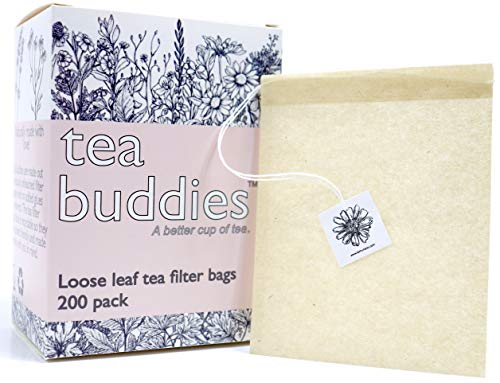 Tea Buddies Loose Tea Filter Bags, All Natural, Disposable Tea Infuser With Drawstring - Fill Your Own Empty Tea Bags, Single Cup Capacity [Bonus] - Free Recipes!