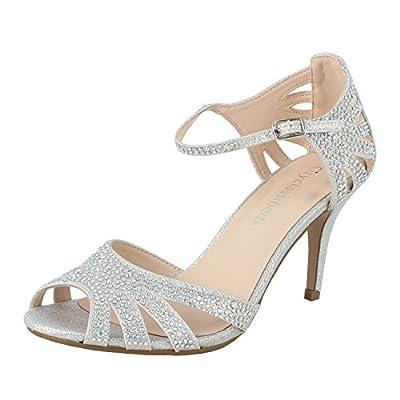 City Classified Reason Women's Strappy Open Toe Rhinestone Low Heel,Silver,8.5