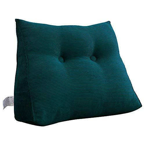 VERCART Rückenkissen Keilkissen Rückenlehne Nackenstützkissen für Bett Sofa Orthopädisch Dreieck Weich Bequem Cord 80cm Jeans Blau