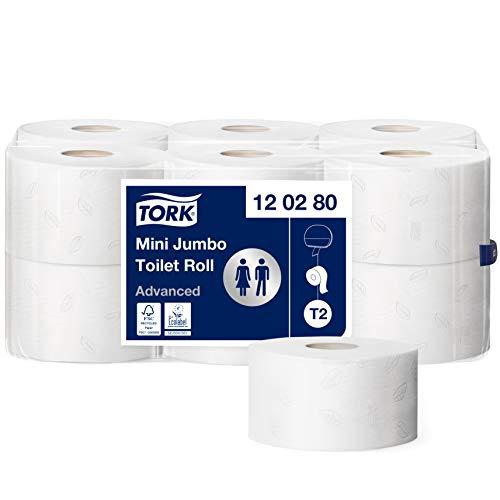 Tork 120280 Mini Jumbo Toilettenpapier in Advanced Qualität für das Tork T2 Mini Jumbo Toilettenpapiersystem / Toilettenpapier 2-lagig in Weiß, 12 x 850 Blatt