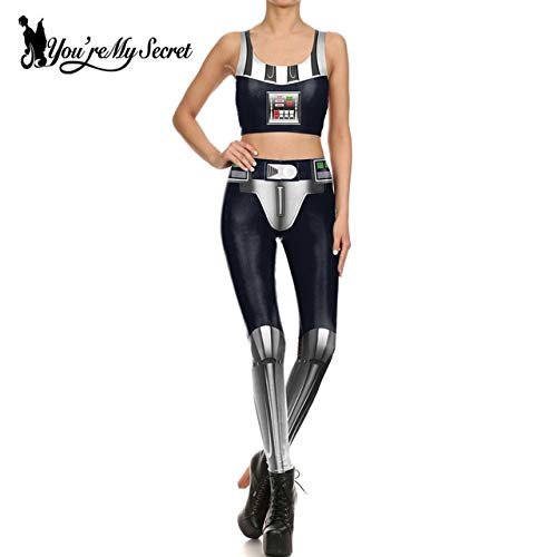 [You're My Secret] Fashion Star Wars Dark Lord Darth Vader Cosplay Women's Constume Anime Robot Party Sexy Top and Legging Set M KDK1709B03046