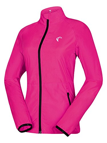 Shelcup Women's Packable Windbreaker Jacket, Lightweight and Visible, Active Cycling Running Skin Coat, Rose Red S