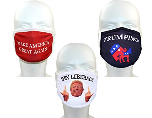 Trump Face Mask 3-Pack | Reusable & Washable Anti Dust Mouth Fashion Balaclava Cover | Breathable Bandanna with Carbon Filter Slot | MAGA NO Liberals Trumping 2020 | Men Women Outdoor Indoor