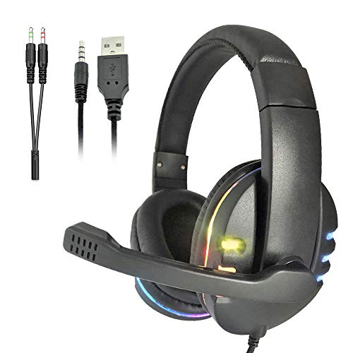 Gaming Headphones with Microphone,Yusonic PC headsets with mic for Office, School, Network Class. ps4 Gaming Headset with Light for PS5, Switch,Nintendo,Xbox .mac(3.5 Jack, Black) (3.5 Jack,Black)