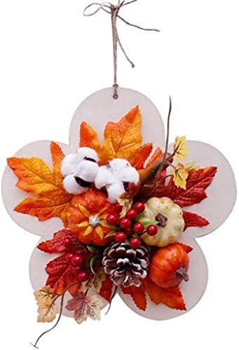 RTYUI Floral Design Wreaths Artificial Pumpkin Maple Leaves Wreath Garland Ornament Hanging Pendants With Berries Pine Cones Cotton Balls Autumn Harvest Decor Festival Home Decoration