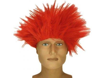 Perruque choc electrique cheveux rouges en petard