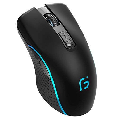 Silent Click Wireless Mouse for Laptop - Light up Rechargeable USB Cordless Mice for Computer, 3 DPI up to 2400, [Queit] Comfort & Smooth LED RGB Mouse for PC Tablet Chromebook Microsoft Windows Mac
