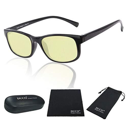 DUCO Blue Light Blocking Glasses Gamer Glasses and Computer Eyewear Anti-Glare Protection Anti-Fatigue Anti UV Glasses for Smartphone Screens, Computer or TV (Shine Black)