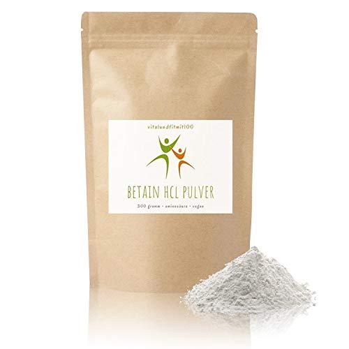 Betain HCL Pulver - 300 g - Aminosäuren-Derivat - in geprüfter Qualität - fein vermahlen - 100% vegan, glutenfrei, laktose - ohne Konservierungsstoffe - OHNE Hilfs- u. Zusatzstoffe