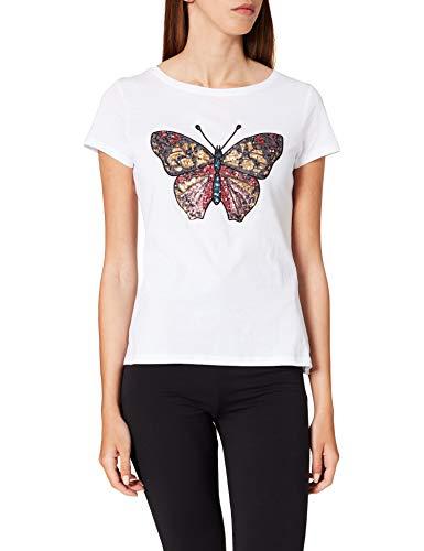 Springfield Camiseta Dibujo Lentejuelas, Blanco, L para Mujer
