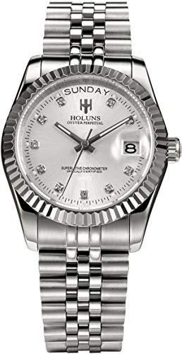 Herren Uhr Silber Edelstahl Armband Analog Quarz Datum Kalender Luxus Business Mode Elegant Designer