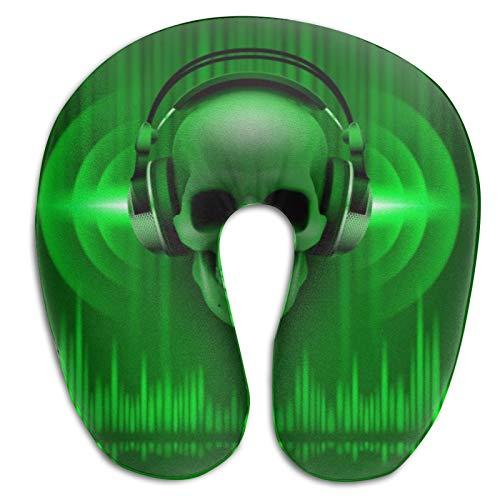Skull In Headphones Disco Travel Almohada para el Cuello, en Forma de U con Funda Suave Lavable para Aviones, automóviles, oficinas