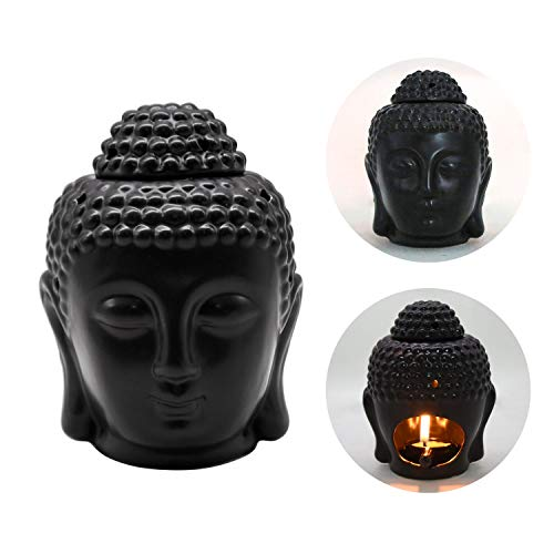 Ceramic Buddha Head Aromatherapy Aroma Oil Burner Candle Holder Thai Buddha Head Design Ceramic Wax Melt Warmer Essential Oil Burner Tealight Candle Holders with Spoon for Home Decor (Black)