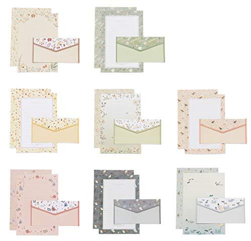 Miystn Briefpapier Liniert, Briefpapier mit Umschlag, Schreibpapier und Umschläge, Schreibpapier Motivpapier mit Umschlag ohne Fenster (48 Stück -Briefpapiere und 24 Stück -Briefumschläge, 8 Stile)