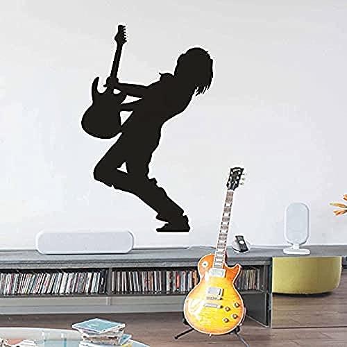Pegatinas wwccy silueta de guitarrista calcomanías de vinilo para pared guitarrista eléctrico...