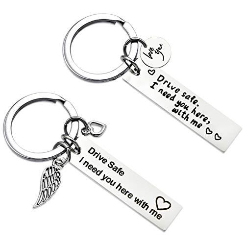 HOWAF 2 Stücke Drive Safe Schlüsselanhänger aus Edelstahl - Fahr Vorsichtig, Ich brauch Dich Hier bei Mir Schlüsselring Geschenk für Vater, Ehemann, Freund