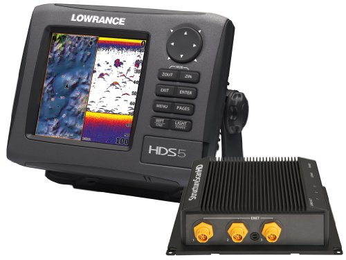 Lowrance HDS-5 GEN2 Plotter/Sounder, with 5-inch LCD, Lake Insight Cartography, LSS-2 StructureScan, and Two Transducers.