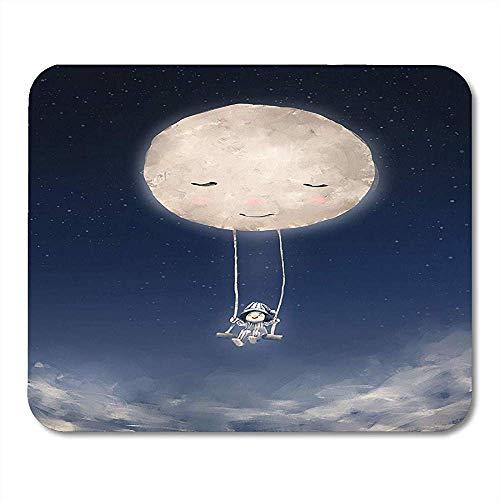 Mousepad Kleine Digitale Malerei Von Niedlichen Mädchen Reiten Auf Schaukel Gebunden An Den Mond Acryl Leinwand Geschichtenerzählen Öl Notebooks Desktop-Computer Bürobedarf 25X30Cm Mauspad