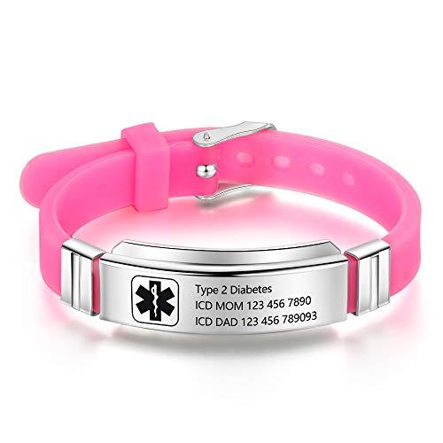Personalized Bracelet Silicone Medical Bracelets Adjustable Sport Emergency ID Bracelets Free Engraving 9 Inches Waterproof ID Alert Bracelets for Men Women Kids (Pink)