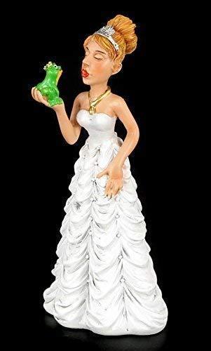 Lustige Braut Figur küsst Frosch - Hoffentlich ein Prinz - Tortenfigur Brautpaar Tortenaufsatz