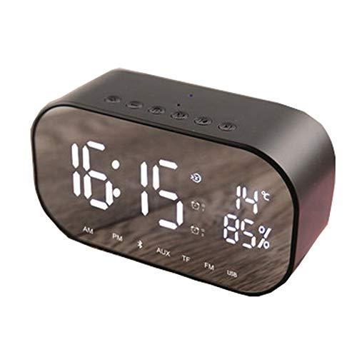 Preisvergleich Produktbild Bedside Desktop Bluetooth LED Wecker Wireless Connected Dual Speaker mit Mirror Surface Design für Time Remind,  Raumdekoration(Schwarz)