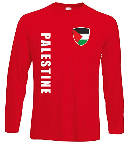 aprom Palästina Langarm T-Shirt Trikot LS-Spa Rot Longsleeve (M)