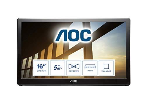 AOC Écran PC USB portable I1659FWUX 39,6cm (15,6pouces) (alimentation électrique via USB 3.0, 1920x1080, 60Hz) noir