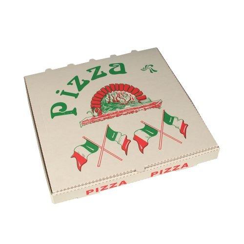 PAPSTAR 50 Pizzakartons, Cellulose eckig 33 cm x 33 cm x 4 cm Italienische Flagge, Sie erhalten 1 Packung, Packungsinhalt: 50 Stück