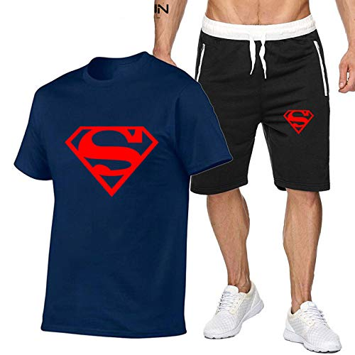 DREAMING-Summer Men's Casual T-shirt Top + Shorts Set Cotton Sports Comfortable Casual Short Sleeve Shorts Set XX-Large