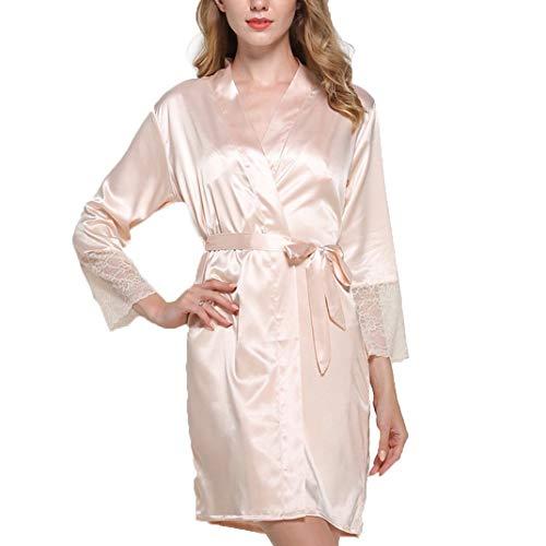LFNIU Pijamas camisón de seda de simulación para mujer camisón de casa con cuello en V pijama sexy para mujer(Color:Champagne,Size:M)