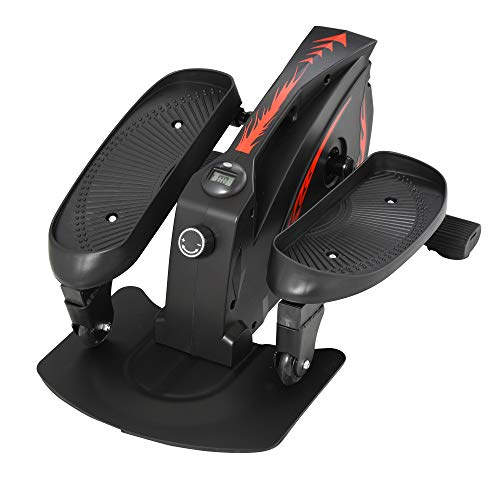 HOMCOM Mini Manual Elliptical Bike w/LCD Monitor Anti-Slip Pedals Adjustable Resistance Home Office Compact Exercise Trainer Fitness Workout