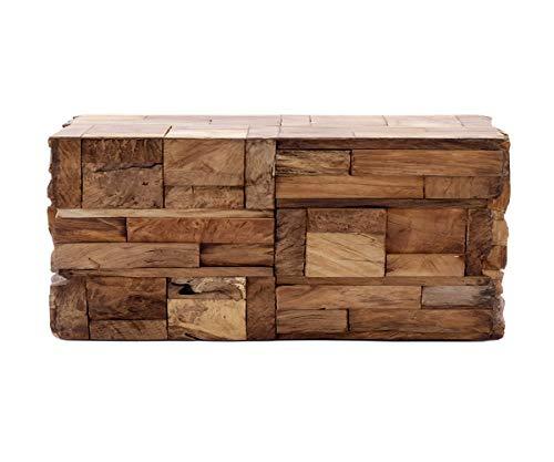 *Brillibrum Design Beistelltisch aus Echtholz Stücken Couchtisch Treibholz Quadratisch Holz-Block Hocker Unikat Nachttisch Blumen-Hocker 45cm Robust 45 x 55 x 100 cm (H x B x T)*