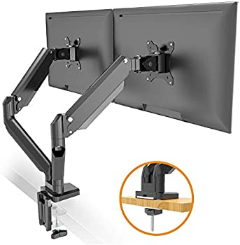 Metiya Height Adjustable Double Arm Gas Spring Monitor Desk Mount