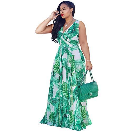 Nuofengkudu Womens Sheer Summer Boho V-Neck Printed Floral Maxi Dress Long Sleeve Dresses Slim Waisted Plus (Green) L
