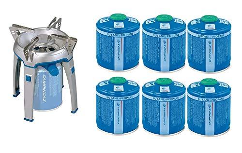 ALTIGASI Bivouac Réchaud à gaz Campingaz, puissance 2600 W, avec sac de transport, système cartouche amovible + 6 cartouches à gaz CV300 de 240 g