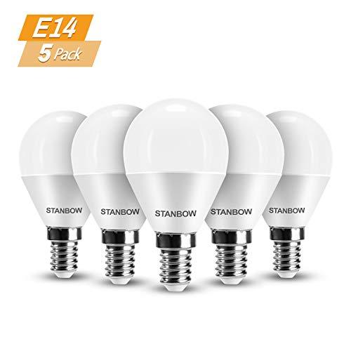 E14 LED Lampe Warmweiss, STANBOW 5W Glühbirne Ersetzt 40W Glühlampe, Tropfenform P45 Leuchtmittel, 270° Abstrahlwinkel, CRI>80, 400 Lumen 3000 Kelvin Warmweiß, 220-240V AC, 5 Stück [Energieklasse A+]