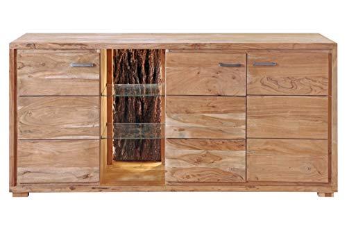 SAM Kommode Kati by Wolf Möbel, Akazienholz massiv & stonefarben, Sideboard mit 3 Türen, offenes Fach mit 2 Glasböden, echter Rinde & Licht, 175 x 78 x 40 cm