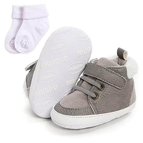 Bebé Niños Niñas Zapatos de Cuero PU Antideslizante Suela Suave Mocasines Zapatos Primer Caminar Zapatos de la Cuna con los Regalos de los Calcetines