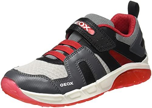 Geox J SPAZIALE Boy A, Zapatillas, Gris y Rojo, 35 EU