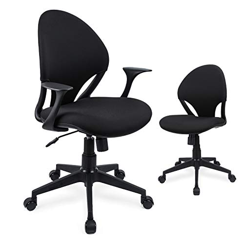 Ergousit Home Office Desk Chair Small Teen Desk Chair Mid-Back and Adjustable Height, Swivel Ergonomic Task Office Chair with Armless Armrests, Computer Desk Rocking Chair, Comfy Kids Chairs