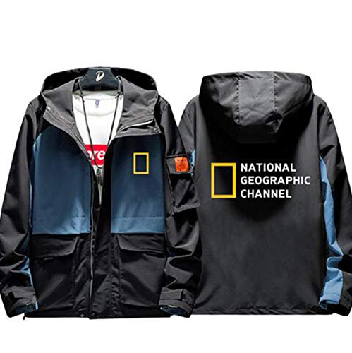 Men's Casual Jacket National Geographic Channel Discovery Channel Coat Hooded Windbreaker Sweater Long Sleeve Clothes for Women's Teens Unisex (Without Shirt),Black,2XL(180-185cm)