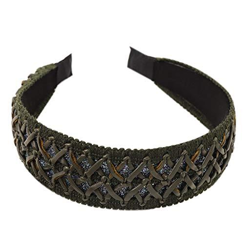 Diademas para mujer, estilo vintage, trenzado, de punto, de piel sintética, banda ancha, con red tejida
