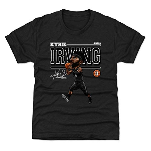 500 LEVEL Kyrie Irving Youth Shirt (Kids Shirt, 10-12Y Large, Tri Black) - Kyrie Irving Cartoon WHT