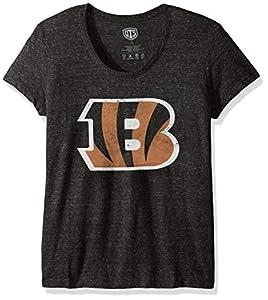 OTS NFL Cincinnati Bengals Women's Triblend Scoop Tee, Distressed Logo, Large