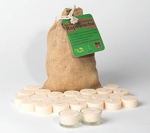Rapswachs - Teelichter im Jutebeutel 25 Stück + 2 Teelichtgläser