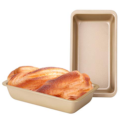 Loaf Pans for Baking, Beasea 8.5x4.5 Inch 2pcs Nonstick Bread Pans Golden Bread Loaf Pans Loaf Baking Pans Carbon Steel Loaf Bakeware for Oven Baking