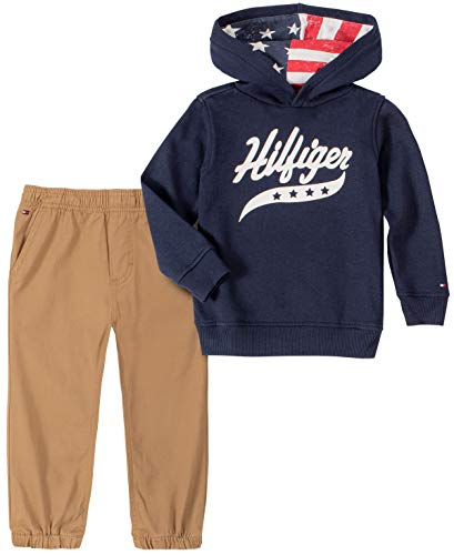 Tommy Hilfiger Baby Boys 2 Pieces Pullover Pants Set, Navy, 18M