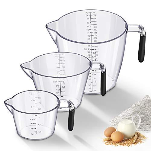 SAWAKE Messbecher Set 3 Stücke, Cup Messbecher 1L,500ml,250ml,BPA frei Kunststoff Küche Messkanne,perfekt Küchenhelfer und Back Zubehör